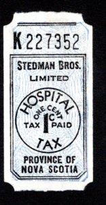 Hospital Tax, 1c, Stedman Bros, Limited, Nova Scotia Revenue Stamp