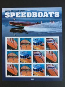 2007 sheet of 41 cent stamps Vintage Mahogany Speedboats Sc #4160-3
