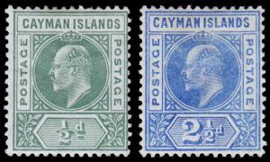 Cayman Islands Scott 8, 10 (1905) Mint H F-VF, CV $24.00 M