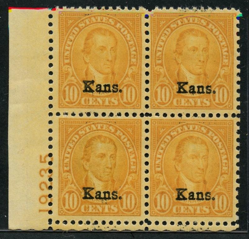#668 KANSAS OVERPRINT PLATE NO. BLOCK OF 4 VF OG NH CV $575 HW1441