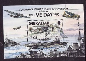 Gibraltar-Sc#683- id3-unused NH sheet-WWII-Planes-Ships-VE Day-1995-