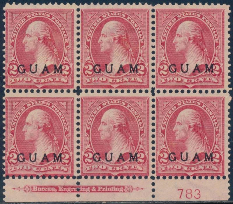 GUAM #2 PLATE #783 WITH IMPRINT FINE UNUSED BLOCK OF 6 CV $300.00 BQ8516
