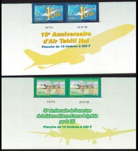 Fr. Polynesia Air Tahiti 2v Pairs Date Control Number SG#1104-1105 MI#1056-1057