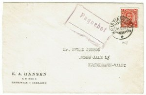 Iceland 1928 Kristiansands cancel on cover to Denmark, paquebot h/s, Scott 121
