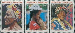 French Polynesia 1987 Sc#452-454,SG498-500 Polynesian Faces set MNH