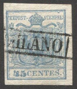Lombardy-Venetia 1850  Sc 6h 45c Type I Used VF, MILANO Box cancel, cv $100
