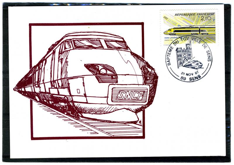 France 21.11.87 High Speed trains mail transport Postmark