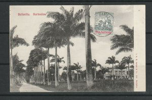 Barbados B & W PPC, Belleville, with Britannia 1/4d on Front, Clean back,( No wr