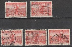 #157 Australia Used lot of 5  lot#200102-14