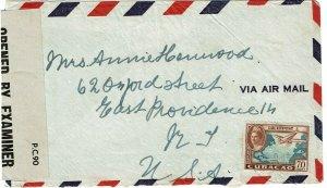 Curacao 1945 St. Eustatius 8 JUNE cancel on cover to U.S., St. Kitts censor LKD