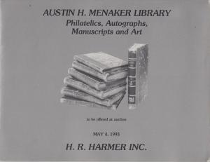 Austin H. Menaker Library, Philatelics, Autographs, Manuscripts, Auction Catalog