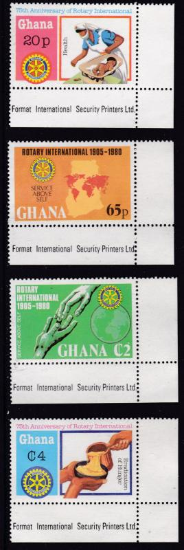 Ghana 1980 Rotary International Complete (4)+ Souvenir Sheet VF/NH