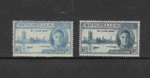 SEYCHELLES #149-150 1946 PEACE ISSUE MINT VF NH O.G aa