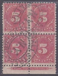 Scott # J55A Used block of 4