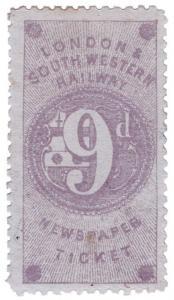 (I.B) London & South Western Railway : Newspaper Ticket 9d