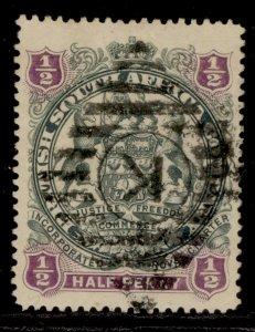 RHODESIA QV SG66, ½d grey-black & purple, USED.