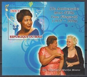 Mali, 2011 issue. Jazz Singer, Ella Fitzgerald on a s/sheet. ^