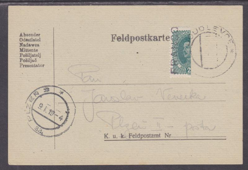 Austria Sc 169 Bisect on 1919 Feldpostkarte to Plzen, VF