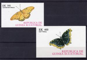 Equatorial Guinea 1977 BUTTERFLIES white Background 2 s/s Imperforated Mint (NH)