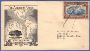 EL SALVADOR 1940 Pan-American Union FDC, Signed by President Martinez