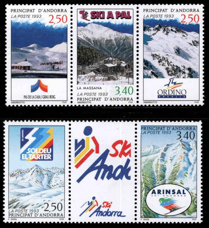 Andorra (French ) Scott 423-424  MNH** 1993 Ski stamp strips