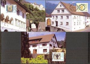 Liechtenstein 2002 Old Inn Signs 3 Maxi Cards FDC