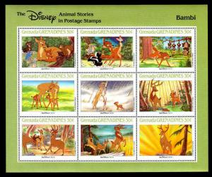 GRENADA - 1988 - DISNEY - BAMBI - THUMPER ++ ANIMAL STORIES - MINT SHEET OF 9!