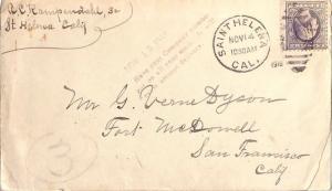 United States California Saint Helena 1918 numeral duplex  3c Washington Fran...
