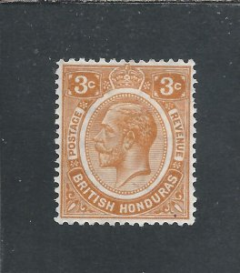 BRITISH HONDURAS 1922-33 3c ORANGE MM SG 129 CAT £38