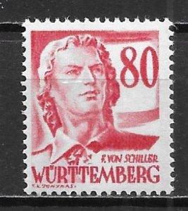 Germany 8N36 Wurttemberg Occupation single MNH