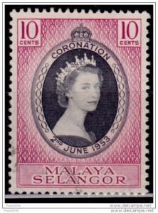 Malaya, Selangor 1953, Coronation, 10c, Scott# 101, used