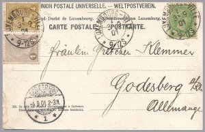 LUXEMBOURG - Adolphe 1901 - 3-Color Franking On PPC