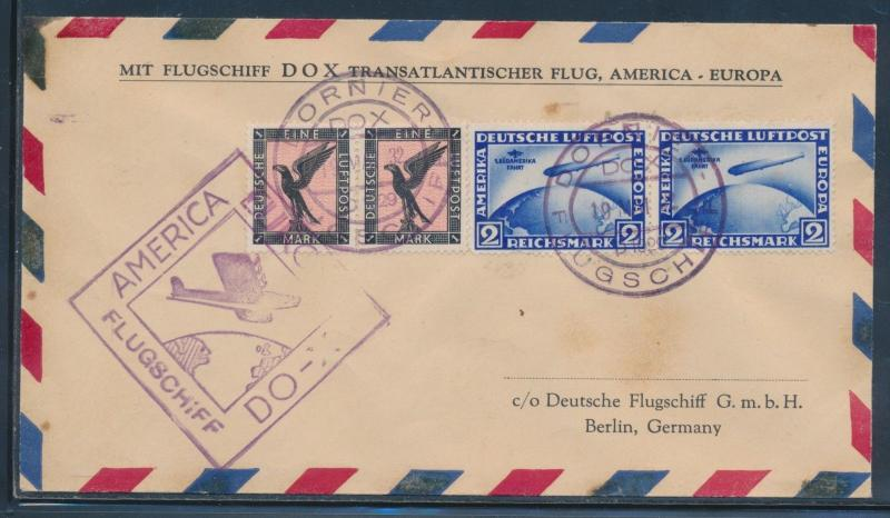 DOX FLIGHT COVER MAY 19,1932 HARMS #61a USA TO EUROPE W/ APS CERT VF HW4680