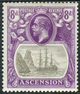 ASCENSION-1924-33 8d Grey-Black & Bright Violet TORN FLAG lightly mounted Sg 176