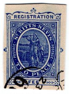 (I.B) St Kitts-Nevis Postal : Registration 2d