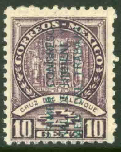 MEXICO 728, 10c Palenque Cross ovpt for Hygiene Cong UNUSED, H OG. F-VF.