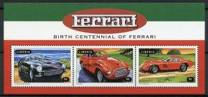 Liberia Cars Stamps 1998 MNH Ferrari King Leopold Cabriolet Auto Racing 3v M/S