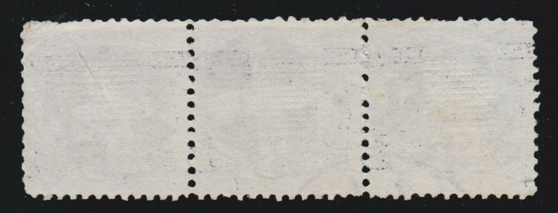 US 114 3c Locomotive Used Strip of 3 w/ Quartered Cork Cancels
