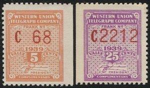 US 1939 Sc 16T95-96 MNH Western Union Telegraph Co., Serial #C68,C2212, VF