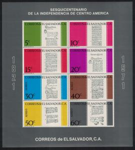 El Salvador 150th Anniversary of Central American Independence MS SG#MS1383
