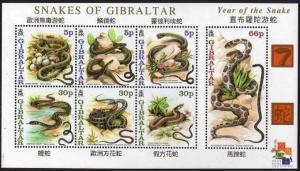 Gibraltar 2001   Year of the Snake S/Sheet MNH  # 870a