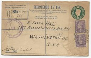 Great Britain Scott #263 x2 H&G I-C3 2A Registered Letter Censored to USA 1944