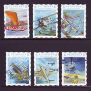 Alderney Sc 350-5 2009 Naval Aviation stamp set mint NH