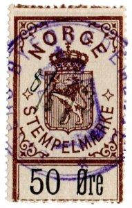 (I.B) Norway Revenue : Stempelmaerke 50 Ore