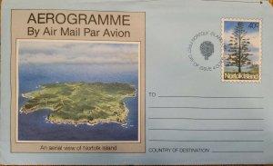 J) 1983 NORFOLK ISLAND, AEROGRAMME, AN AERIAL VIEW NORFOLK ISLAND, XF