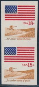 #1890a VERT PAIR 18¢ FLAG ISSUE HORIZ IMPERF ERROR VF-XF OG NH CV $600 BT6593