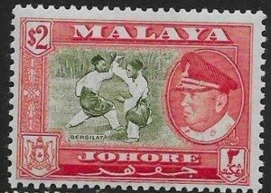 MALAYA JOHORE SG164 1960 $2 BRONZE-GREEN & SCARLET MNH