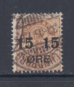 Denmark Sc 56 used 1904 15o surcharge on 24o brown definitive, Fine+