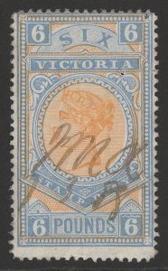 VICTORIA : 1886 QV Bicolour Stamp Duty £6, wmk V crown sideways, perf 12½.