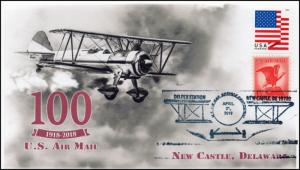 18-311, 2018, Air Mail, 100Years, Pictorial, Postmark, New Castle DE, Event Cove